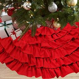 NIGHT-GRING 50 Inch Red Burlap Ruffled Xmas Christmas Tree S