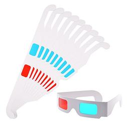 KLOUD City® 10 pcs Red and Cyan cardboard 3D Glasses with W