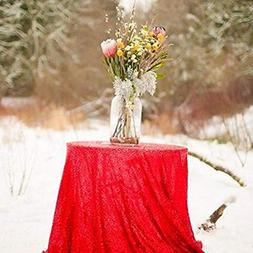 "B-COOL 50"" Red Round Sequin Tablecloth Shimmer Sequin Tablec"