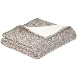 AmazonBasics Reversible Heather Knitted & Sherpa Blanket - S