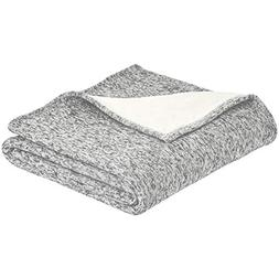 AmazonBasics Reversible Heather Knitted & Sherpa Blanket - G