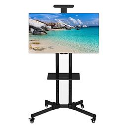 Rolling TV Rack Stand Cart Mobile TV Console Stand with Moun