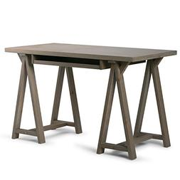 Simpli Home Sawhorse Small Desk, Distressed Grey