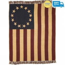VHC Brands Seasonal Americana Pillows Old Glory Red Woven Th