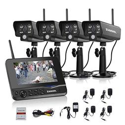 """ANNKE 4-Channel Video Security System with 7"""" LCD Monitor an"""