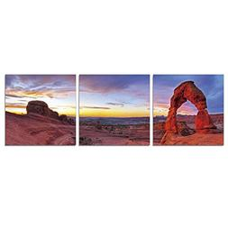 FURINNO Senic Delicate Arch 3 Panel Canvas on Wood Frame, 60