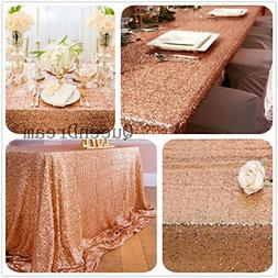 "QueenDream sequins fabric 50""x50"" rose gold sequin Tableclot"