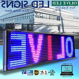 "OLIVE LED Sign 3Color RBP, P15, 12""x50"" PC Programmable Scro"