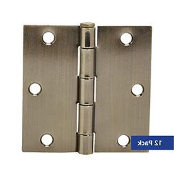 "AmazonBasics Square 3.5"" x 3.5"" Door Hinges - 12 Pack - Anti"