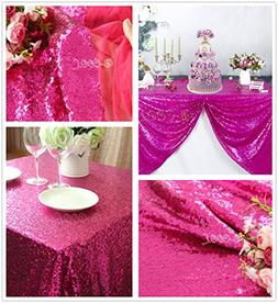 "B-COOL 50""X50"" square Fuchsia Sequin Tablecloth Sequin Table"