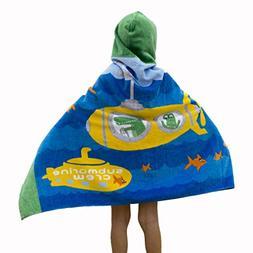 Wowelife Submarine Hooded Bath Towel Kids for Bath, Pool and