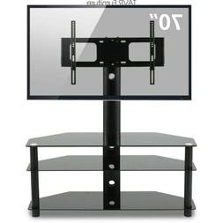 Swivel Glass TV Stand with Mount Height Adjustable for 32-70