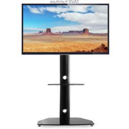 Swivel Universal Floor TV Stand with Mount and Audio Shelf f