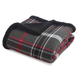 "Throw Blankets Eddie Bauer 50X60"" Inches Gray Barn Red Black"
