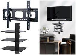 """Tilt TV Wall Mount with shelf shelves 3 Triple Shelf for 55"""""""