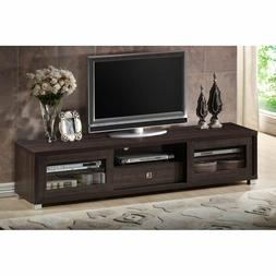 """TV Media Stand Fits up to 70"""" Glass Shelves Silver Accents 3"""