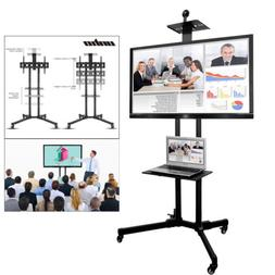 TV Cart Mobile TV Stand Wheeled Flat Screen with Webcam DVD