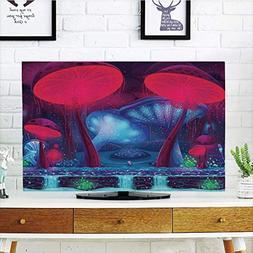 LCD TV Cover Multi Style,Mushroom Decor,Magic Mushrooms with