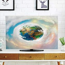 LCD TV dust Cover Customizable,Earth,Vibrant Colorful Image