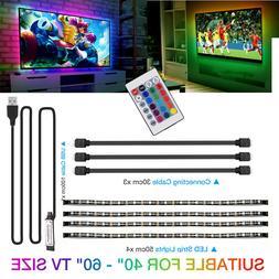 TV LED Backlight 4 x 50CM USB RGB LED Strip Light Remote Kit