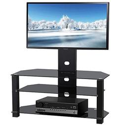 Topeakmart TV Stand with Bracket Mount and 3-Tier Glass Shel
