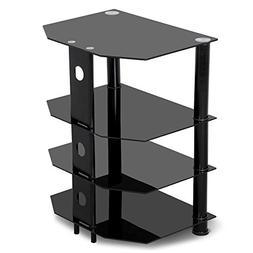 go2buy 4 Tier Black Glass Media Component Stand Audio Rack w