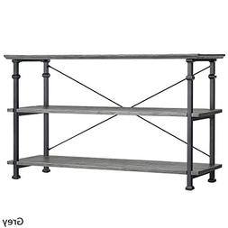 Urban Industrial Veneer Wood 3-Shelves Rectangular TV Stand