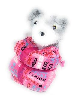 Valentine's Day Kids Teens Grey and White Plush Stuff Teddy
