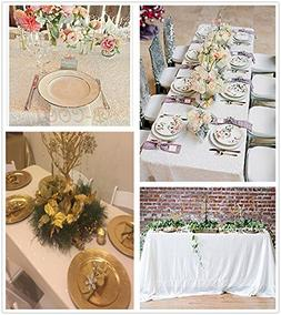 """B-COOL 50""""x80"""" White Rectangle sequin tablecloth sequins fab"""