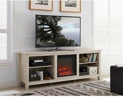 WE Furniture AZ70FP18WO Fireplace TV Stand, White Oak