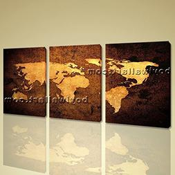 World Global Map Ocean Retro Atlas Print Canvas Large Contem